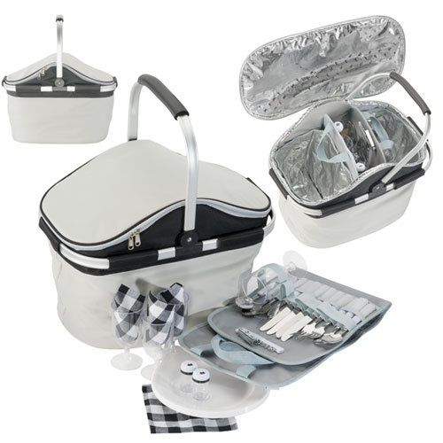 Foldup Picnic Carry Basket with Cutlery, Plates & Cups