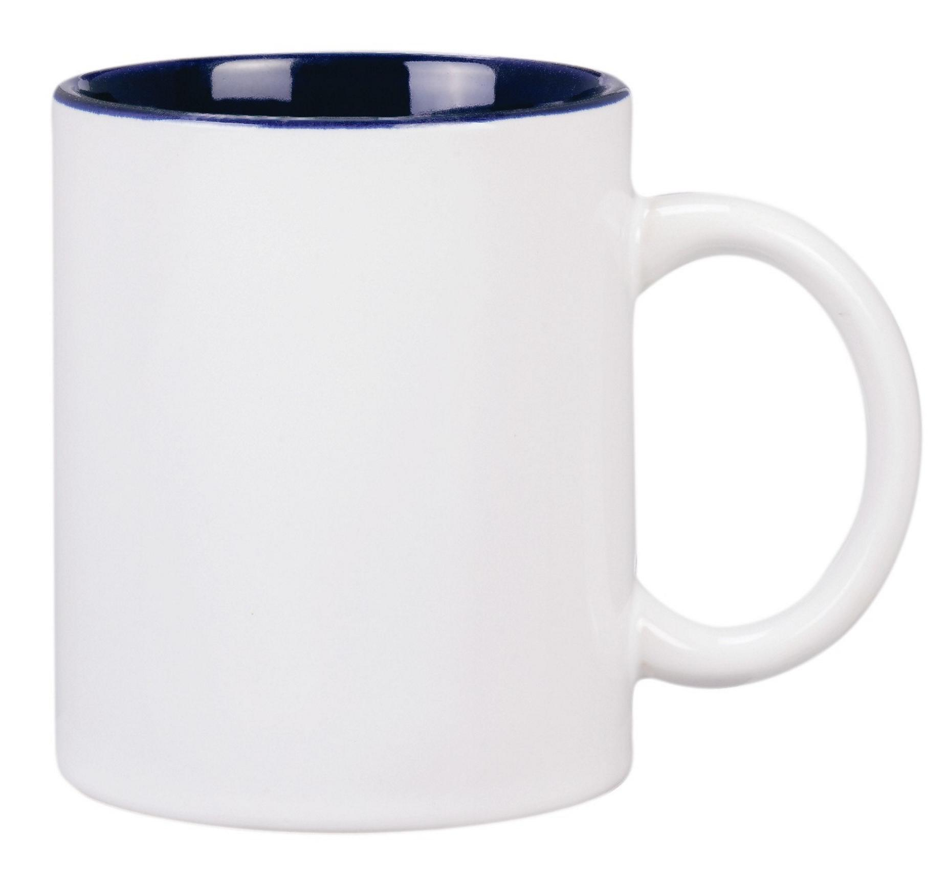 Colonial Coffee Mug White And Cobalt Blue Color Can Shaped