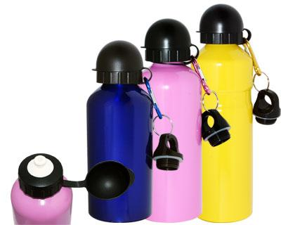 Coloured Aluminium Sports Bottle with attachments