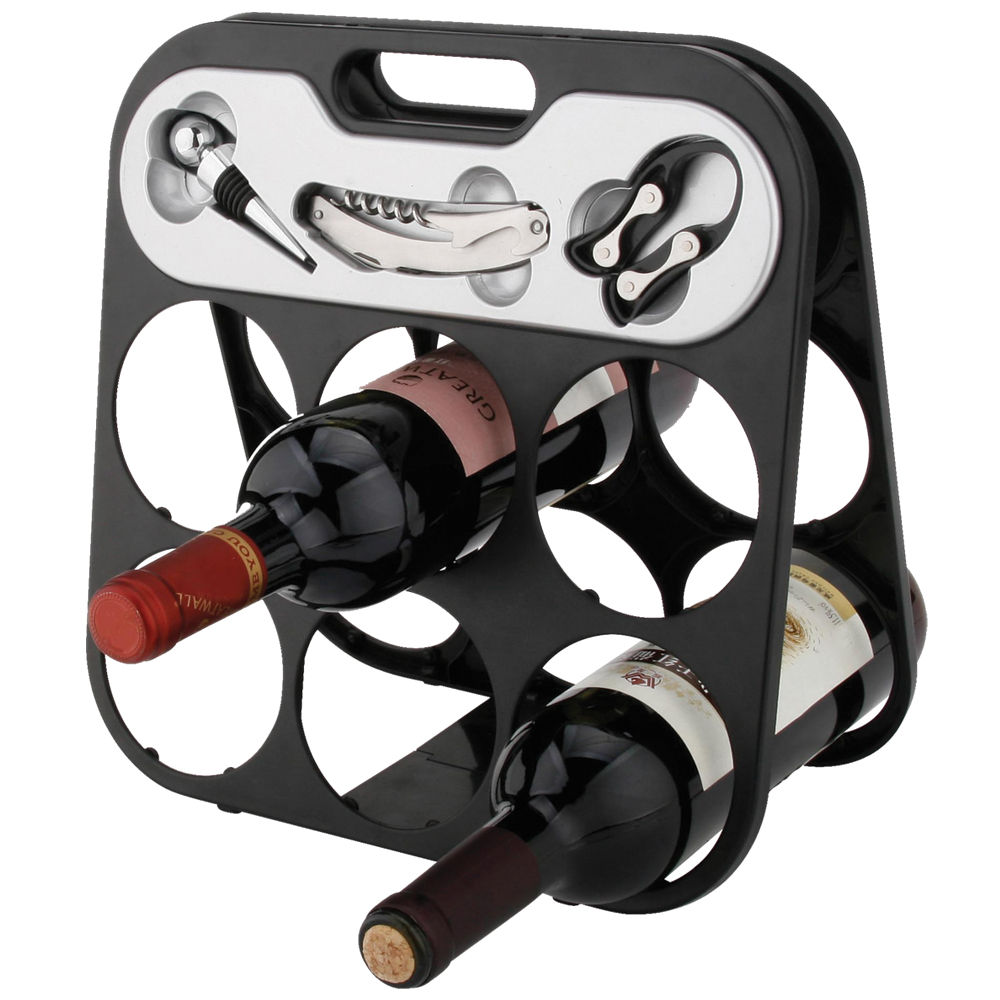 6 bottle wine rack with accessories