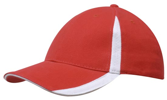 Promotional Brushed Heavy Cotton Cap With Peak & Crown Flash in Red and White