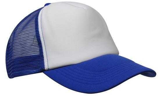 Promotional Truckers Hat in White and Royal Blue