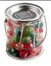 Big PVC Bucket Filled With Ball Lollipops x44 (Corporate Colours)