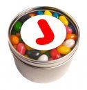 Small Round Acrylic Window Tin Fillled with Jelly Beans 170g