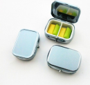 Stainless Steel Pill Case with 2 Compartments