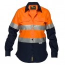 Ladies Lightweight Cotton Drill Shirt Long Sleeve Two Tone with Reflective Tape