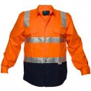 Hi Vis Cotton Drill Shirt Two Tone Long Sleeve With Reflective Tape Over Shoulders