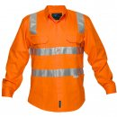 Hi Vis Cotton Drill Shirt Long Sleeve With Reflective Tape Over Shoulders