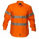 Hi Vis Cotton Drill Shirt Long Sleeve With Reflective Tape
