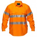 Cotton Shirt Long Sleeve Closed Front Solid Orange With Reflective Tape