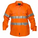Hi Vis Cotton Drill Shirt Long Sleeve With Reflective Tape Lightweight