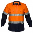 Hi Vis Cotton Drill Shirt Long Sleeve Two Tone With Reflective Tape
