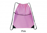 Pink 210D Nylon Zippered Drawstring Backpack