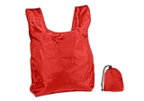 Red Nylon Foldable Tote w/Drawstring Closure Pouch