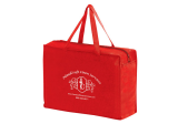 Red Non-Woven Essential Briefcase Tote With Zipper Closure