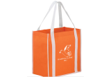 Orange/White Two-tone Non-Woven Tote Bag with Poly Board Insert