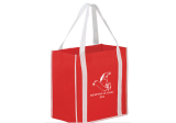 Red/White Two-tone Non-Woven Tote Bag with Poly Board Insert