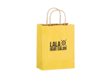 Yellow Matte Color Twisted Paper Handle Shopper