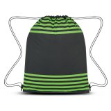 Green Striped Drawstring Sports Pack