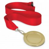 Podium Medal - 65mm Gold Red