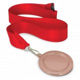 Podium Medal - 65mm Bronze  Red