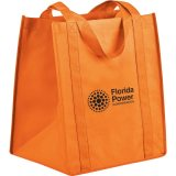Orange Sideways Polypro Non-Woven Big Grocery Tote