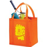 Orange Printed Sideways  Polypro Non-Woven Big Grocery Tote