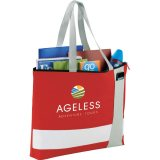 Red Printed Sideways Tri Block Zippered Business Tote