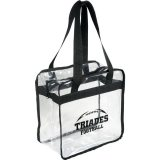 Black Solid Printed Sideways Game Day Clear Zippered Safety Tote