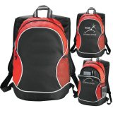 Red Plain and Printed Boomerang Backpack