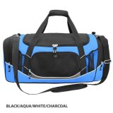 Black/Aqua/White/Charcoal Atlantis Sports Bag Embroidered