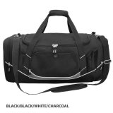 Black/White/Charcoal Atlantis Sports Bag Embroidered