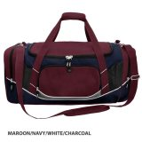 Maroon/White/navy/Charcoal Atlantis Sports Bag Embroidered