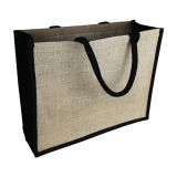 Natural/Black Jute Bag Colored