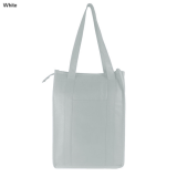 White Non Woven Cooler Bag With Top Zip Closure