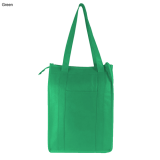 Green Non Woven Cooler Bag With Top Zip Closure
