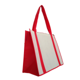Red/White Non Woven Large Zipped Shopping Bag