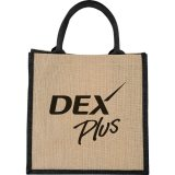 Black Solid Printed Front The Medium Jute Gift Tote