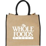 Black Solid Printed The Large Jute Tote