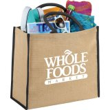 Black Solid Printed Sideways The Large Jute Tote