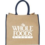 Navy Printed The Large Jute Tote