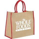 Red Printed Sideways The Large Jute Tote