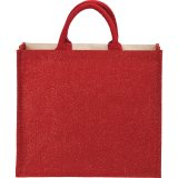 Red Metallic Jute and Cotton Shopper Tote