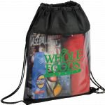 Black Printed The Guide Clear Drawstring Cinch Backpack 03