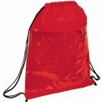 Red sideways The Guide Clear Drawstring Cinch Backpack