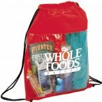Red Printed The Guide Clear Drawstring Cinch Backpack 03