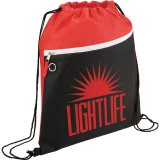 Red Printed The Slant Drawstring Cinch Backpack