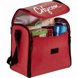 Open view decorated red The Parkway Convertible Placemat Cooler