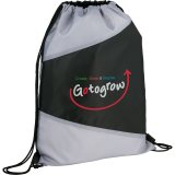 Black/Gray The Pennant Drawstring Cinch Backpack