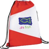 Red/White The Pennant Drawstring Cinch Backpack